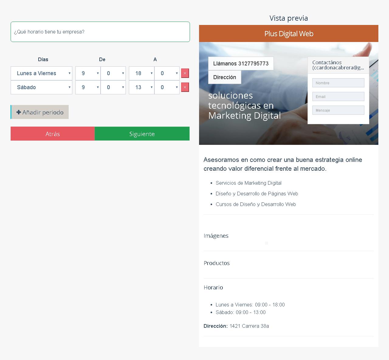 horarios de empresa páginas web MinTic